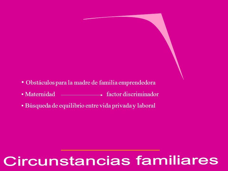 Obstáculos para la madre de familia emprendedora Maternidad factor discriminador Búsqueda de equilibrio entre vida privada y laboral