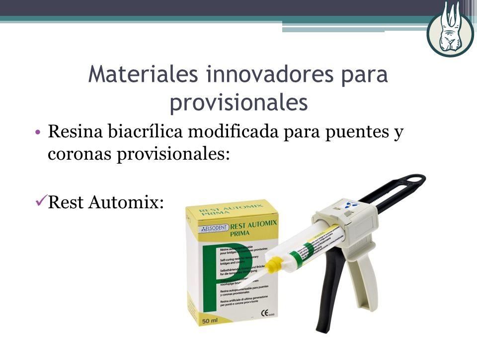 Materiales innovadores para provisionales Resina biacrílica modificada para puentes y coronas provisionales: Rest Automix: