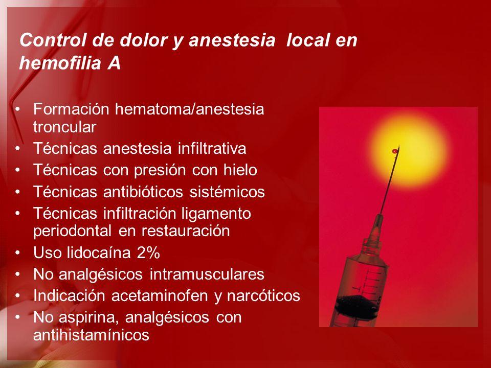 Control de dolor y anestesia local en hemofilia A Formación hematoma/anestesia troncular Técnicas anestesia infiltrativa Técnicas con presión con hiel