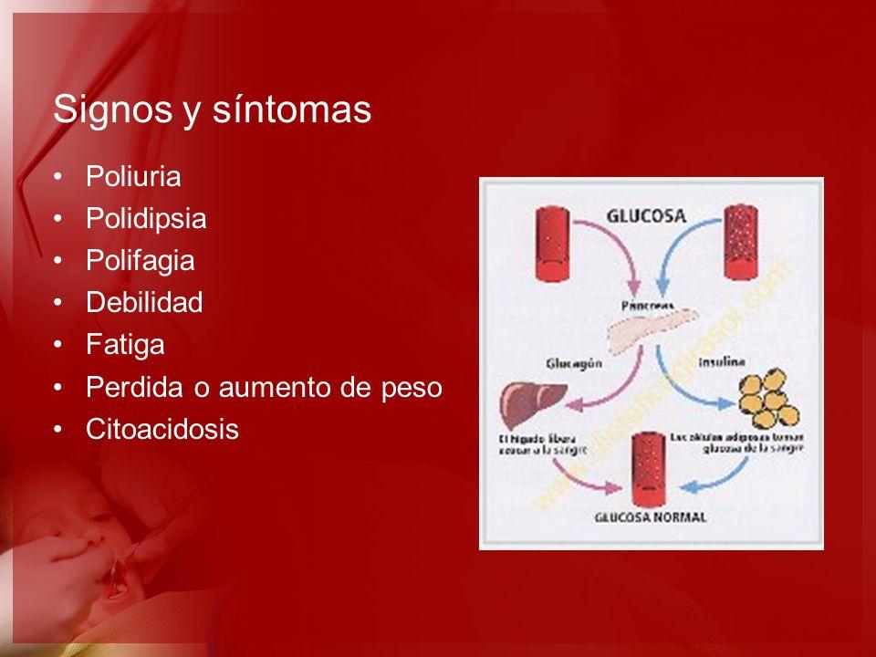 Signos y síntomas Poliuria Polidipsia Polifagia Debilidad Fatiga Perdida o aumento de peso Citoacidosis