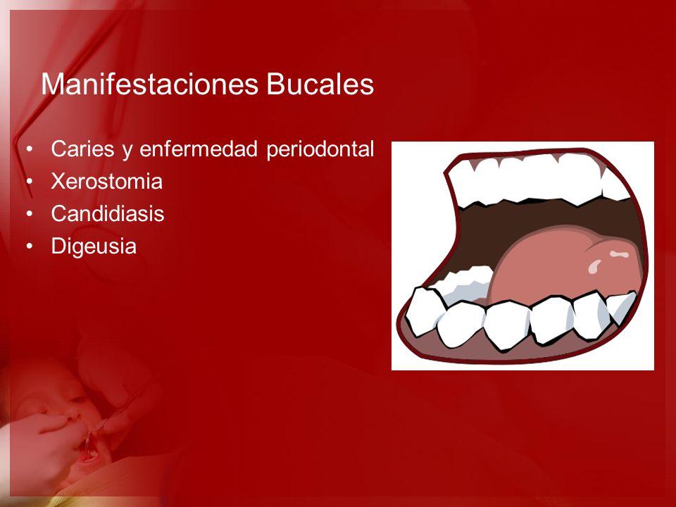 Manifestaciones Bucales Caries y enfermedad periodontal Xerostomia Candidiasis Digeusia