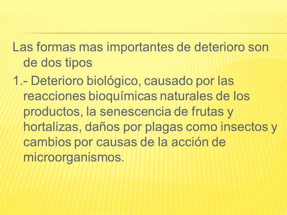 Las formas mas importantes de deterioro son de dos tipos 1.- Deterioro biológico, causado por las reacciones bioquímicas naturales de los productos, l