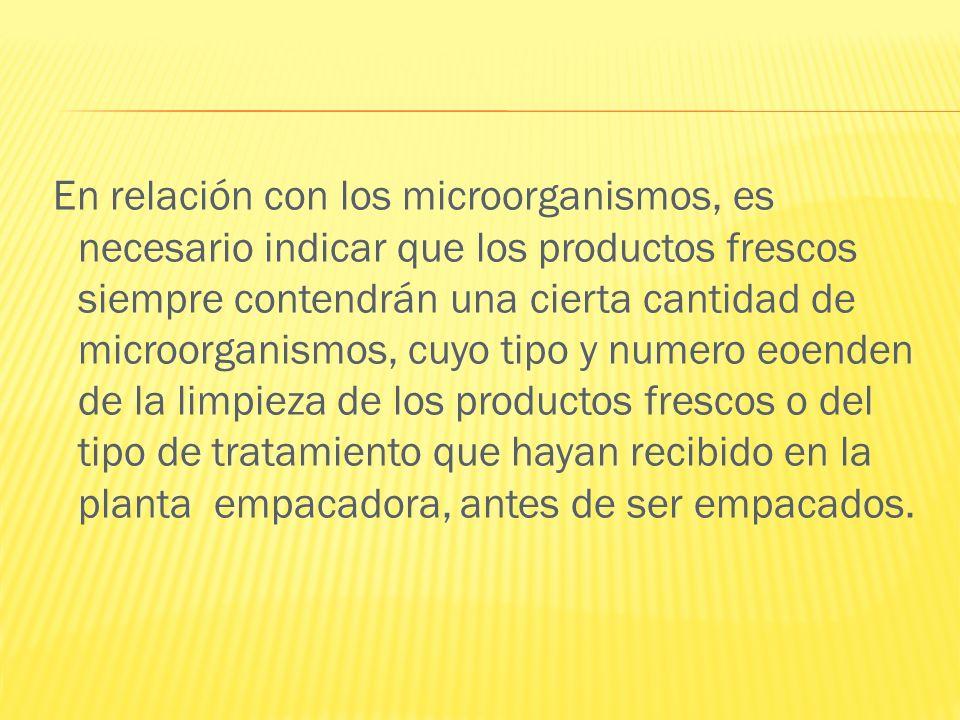 En relación con los microorganismos, es necesario indicar que los productos frescos siempre contendrán una cierta cantidad de microorganismos, cuyo ti