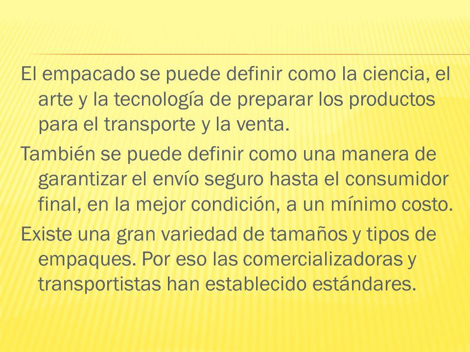 El empacado se puede definir como la ciencia, el arte y la tecnología de preparar los productos para el transporte y la venta. También se puede defini