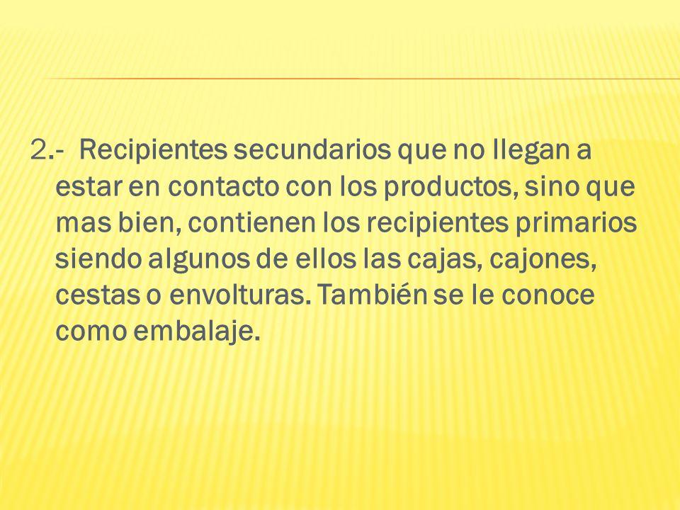 2.- Recipientes secundarios que no llegan a estar en contacto con los productos, sino que mas bien, contienen los recipientes primarios siendo algunos