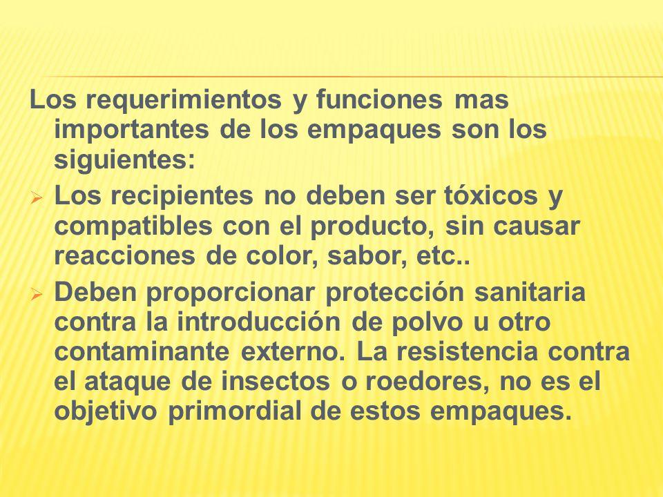Los requerimientos y funciones mas importantes de los empaques son los siguientes: Los recipientes no deben ser tóxicos y compatibles con el producto,