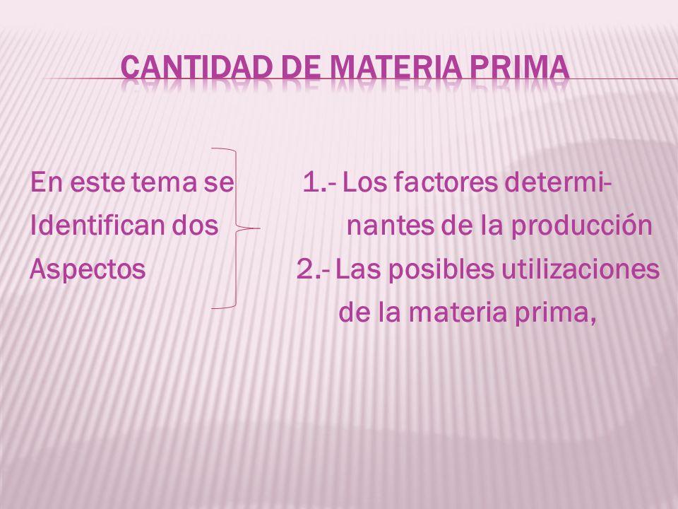 En este tema se 1.- Los factores determi- Identifican dos nantes de la producción Aspectos 2.- Las posibles utilizaciones de la materia prima,