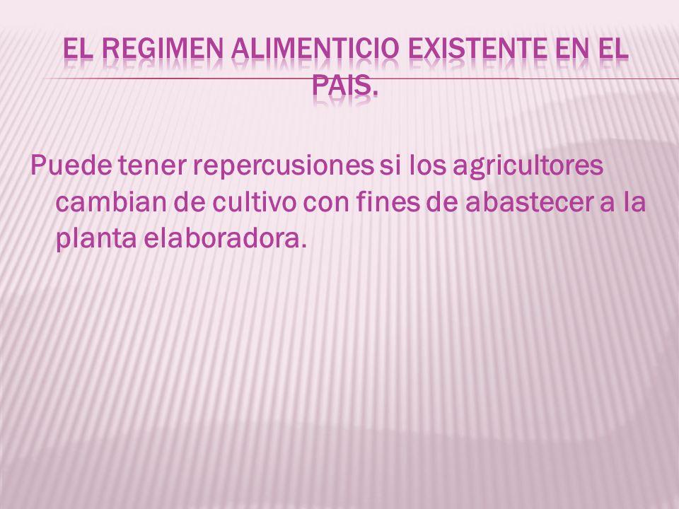 Puede tener repercusiones si los agricultores cambian de cultivo con fines de abastecer a la planta elaboradora.