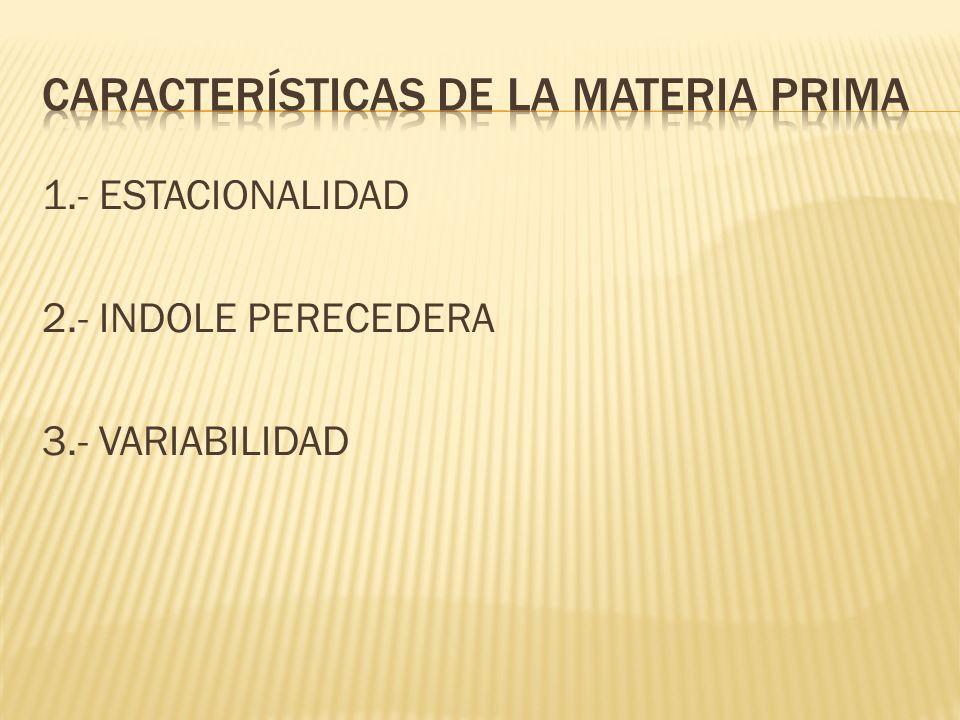 1.- ESTACIONALIDAD 2.- INDOLE PERECEDERA 3.- VARIABILIDAD