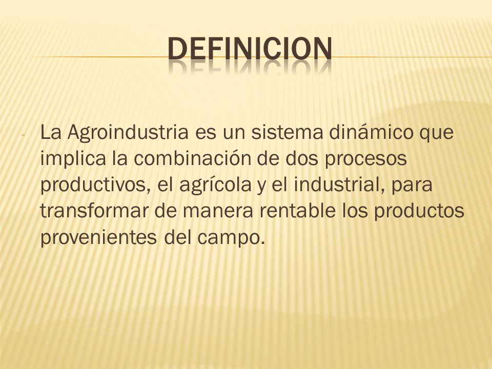 - La Agroindustria es un sistema dinámico que implica la combinación de dos procesos productivos, el agrícola y el industrial, para transformar de man