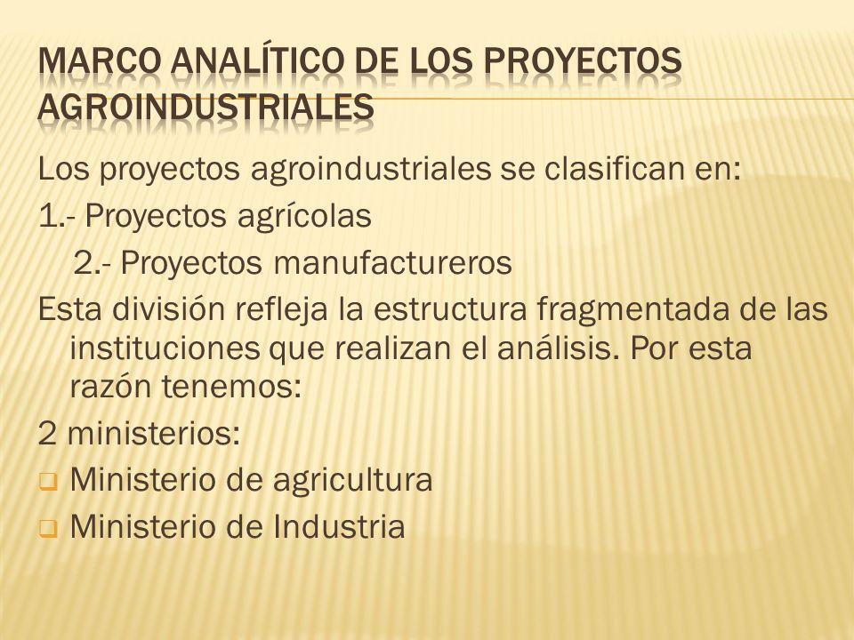 Los proyectos agroindustriales se clasifican en: 1.- Proyectos agrícolas 2.- Proyectos manufactureros Esta división refleja la estructura fragmentada
