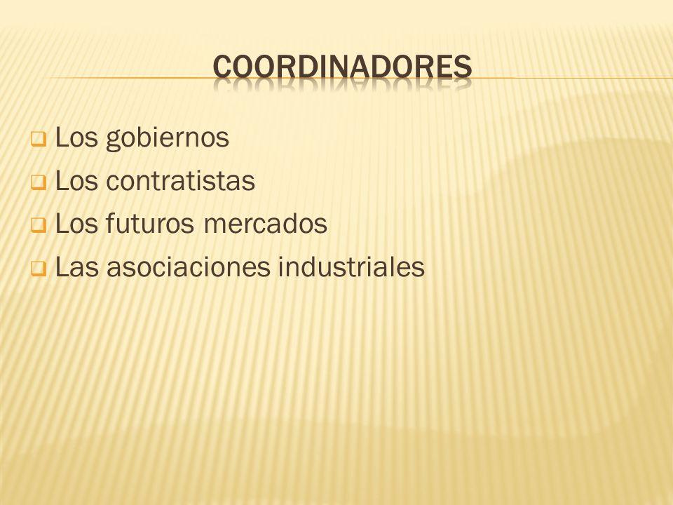 Los gobiernos Los contratistas Los futuros mercados Las asociaciones industriales