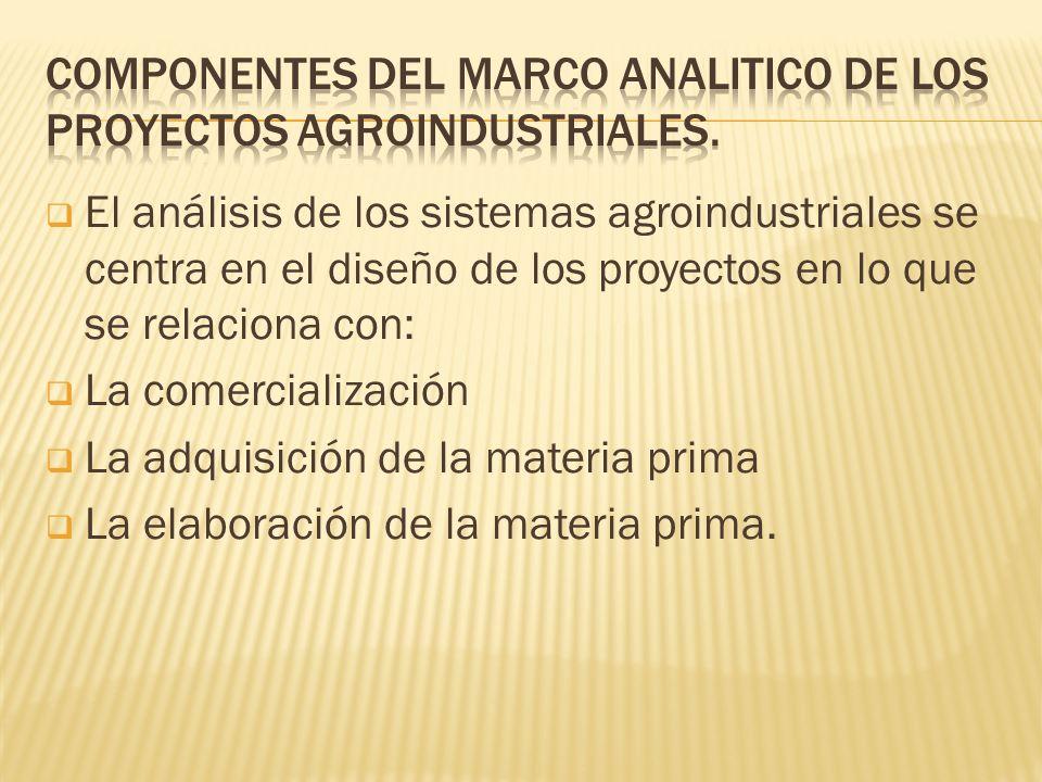 El análisis de los sistemas agroindustriales se centra en el diseño de los proyectos en lo que se relaciona con: La comercialización La adquisición de