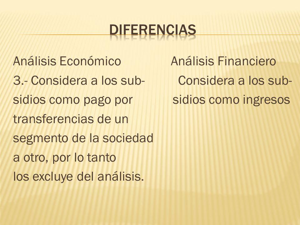 Análisis Económico Análisis Financiero 3.- Considera a los sub- Considera a los sub- sidios como pago por sidios como ingresos transferencias de un se