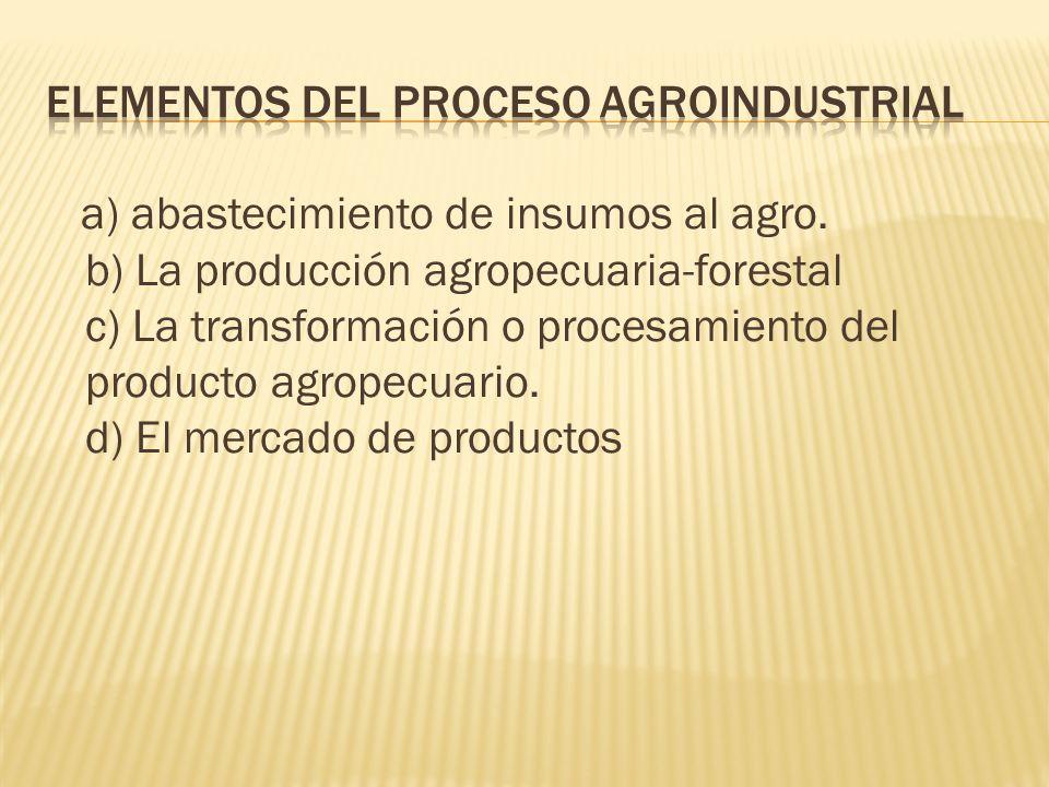 a) abastecimiento de insumos al agro. b) La producción agropecuaria-forestal c) La transformación o procesamiento del producto agropecuario. d) El mer