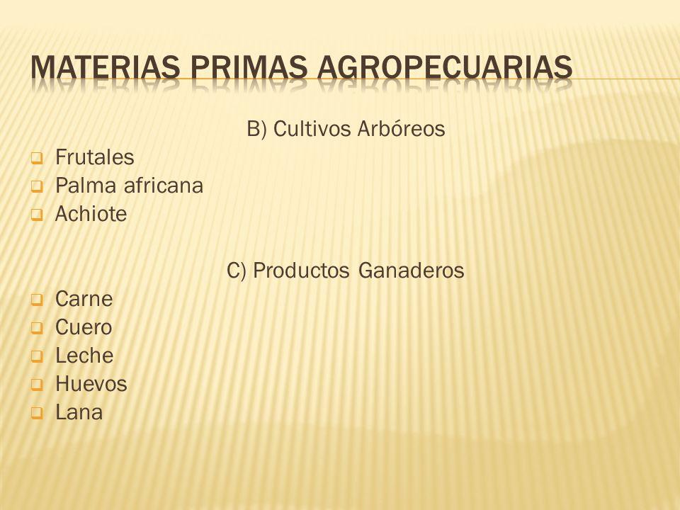 B) Cultivos Arbóreos Frutales Palma africana Achiote C) Productos Ganaderos Carne Cuero Leche Huevos Lana