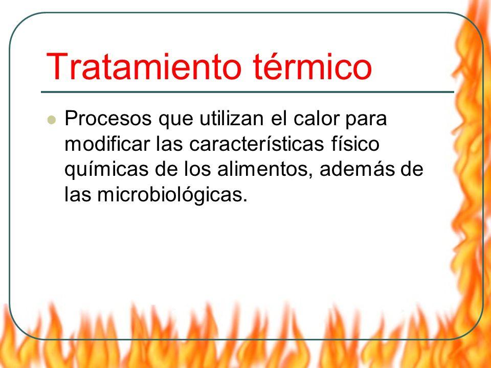 Tratamiento térmico Procesos que utilizan el calor para modificar las características físico químicas de los alimentos, además de las microbiológicas.