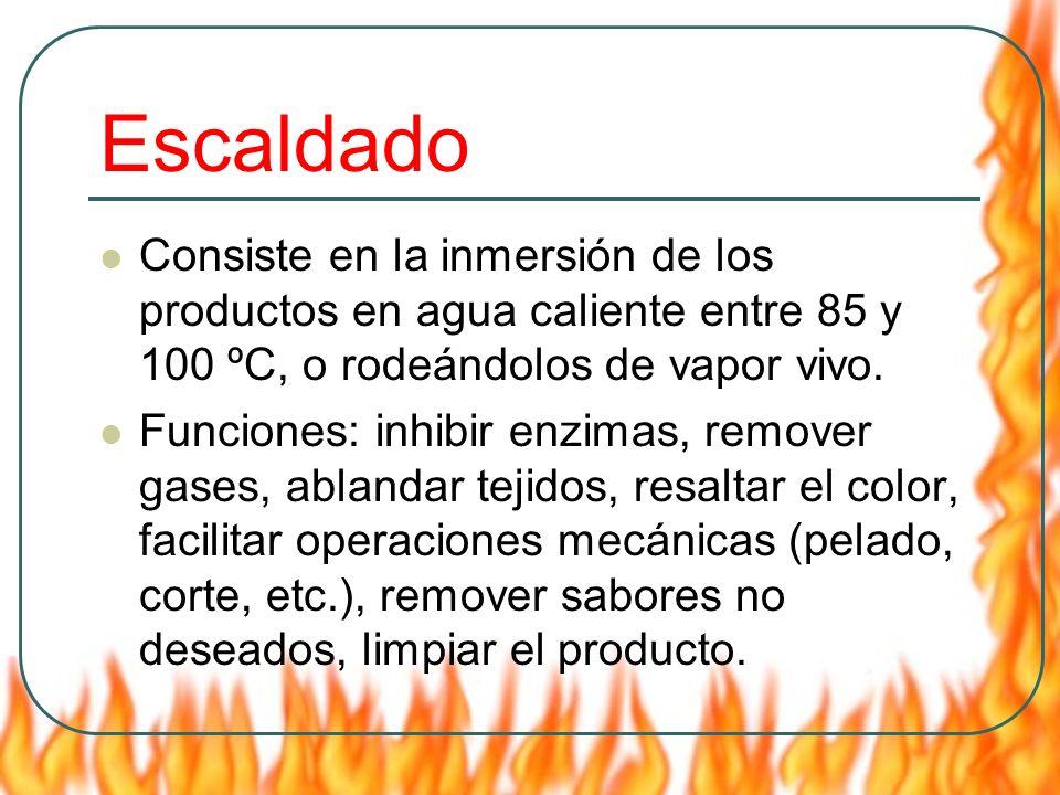 Escaldado Consiste en la inmersión de los productos en agua caliente entre 85 y 100 ºC, o rodeándolos de vapor vivo. Funciones: inhibir enzimas, remov