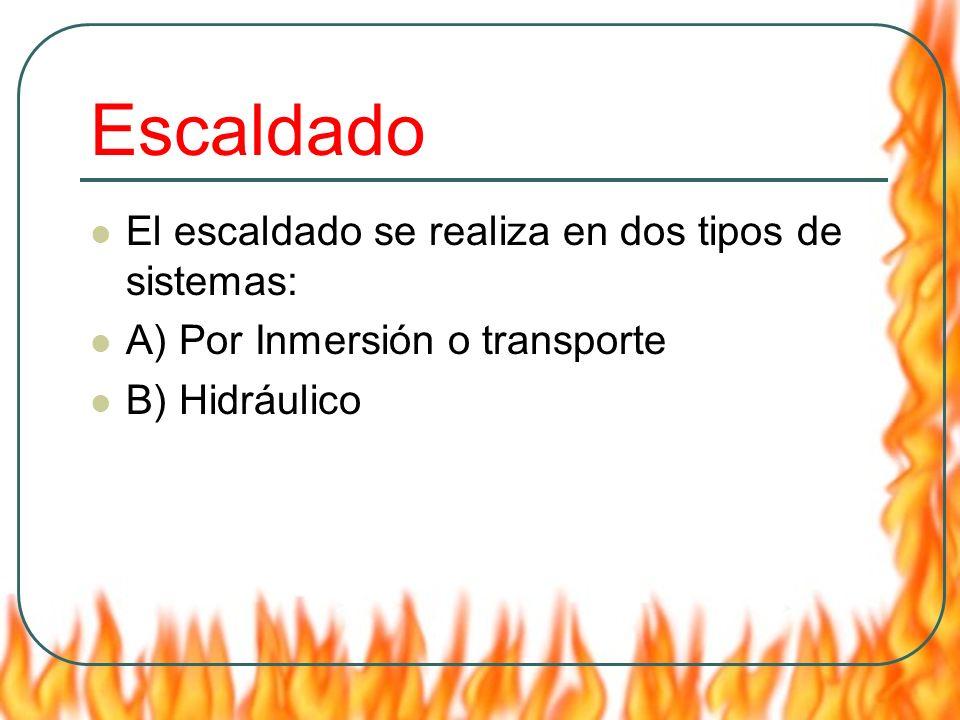 Escaldado El escaldado se realiza en dos tipos de sistemas: A) Por Inmersión o transporte B) Hidráulico