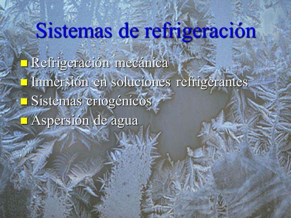 Sistemas de refrigeración Refrigeración mecánica Refrigeración mecánica Inmersión en soluciones refrigerantes Inmersión en soluciones refrigerantes Si