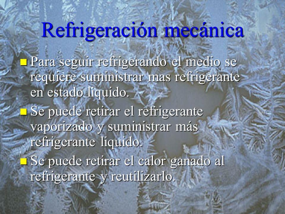 Refrigeración mecánica Para seguir refrigerando el medio se requiere suministrar mas refrigerante en estado liquido. Para seguir refrigerando el medio