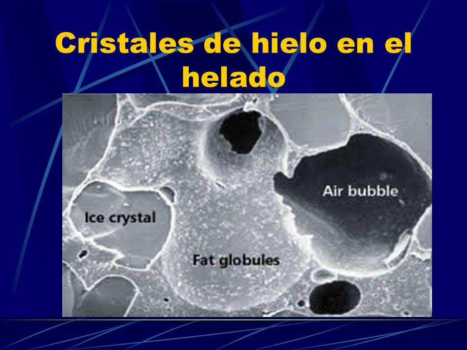 Cristales de hielo en el helado