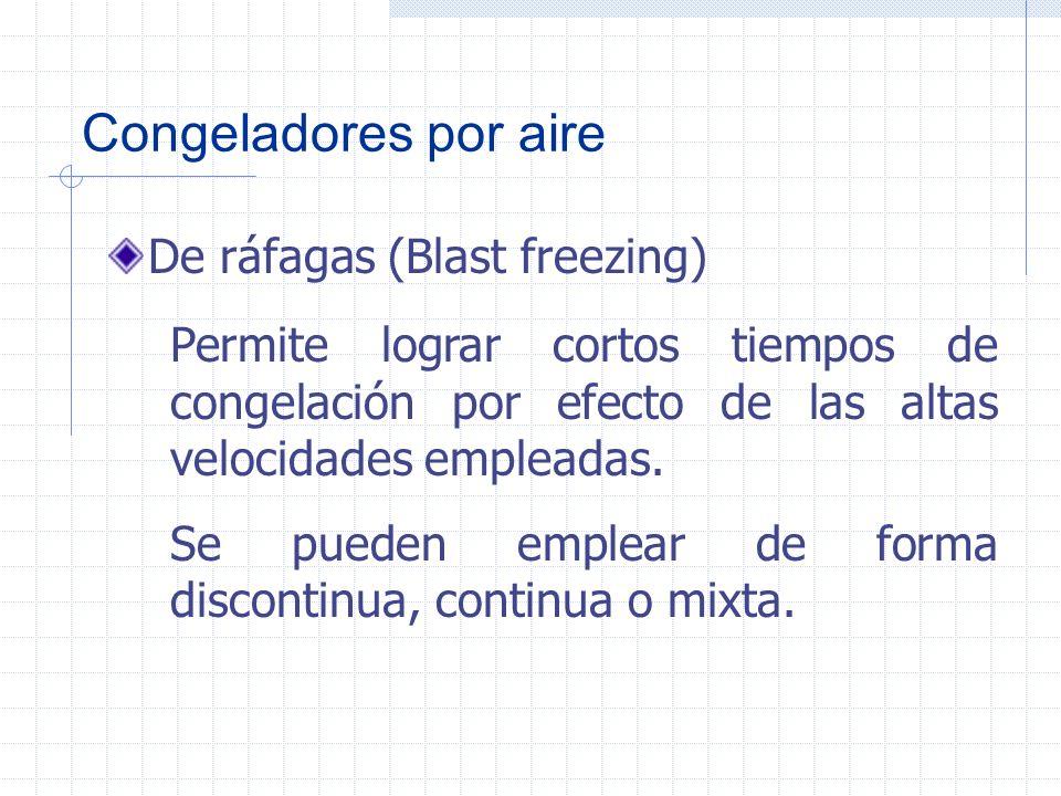 Congeladores por aire De aire estático La congelación con aire inmóvil no se debe emplear comercialmente, ya que la velocidad es muy baja y va en detr