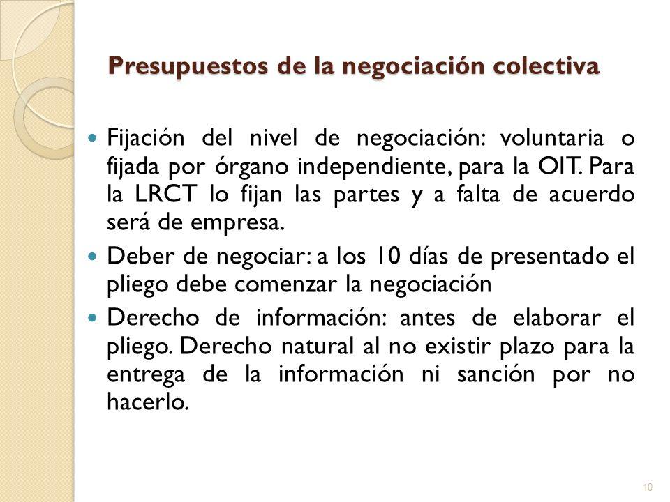 Presupuestos de la negociación colectiva Fijación del nivel de negociación: voluntaria o fijada por órgano independiente, para la OIT. Para la LRCT lo