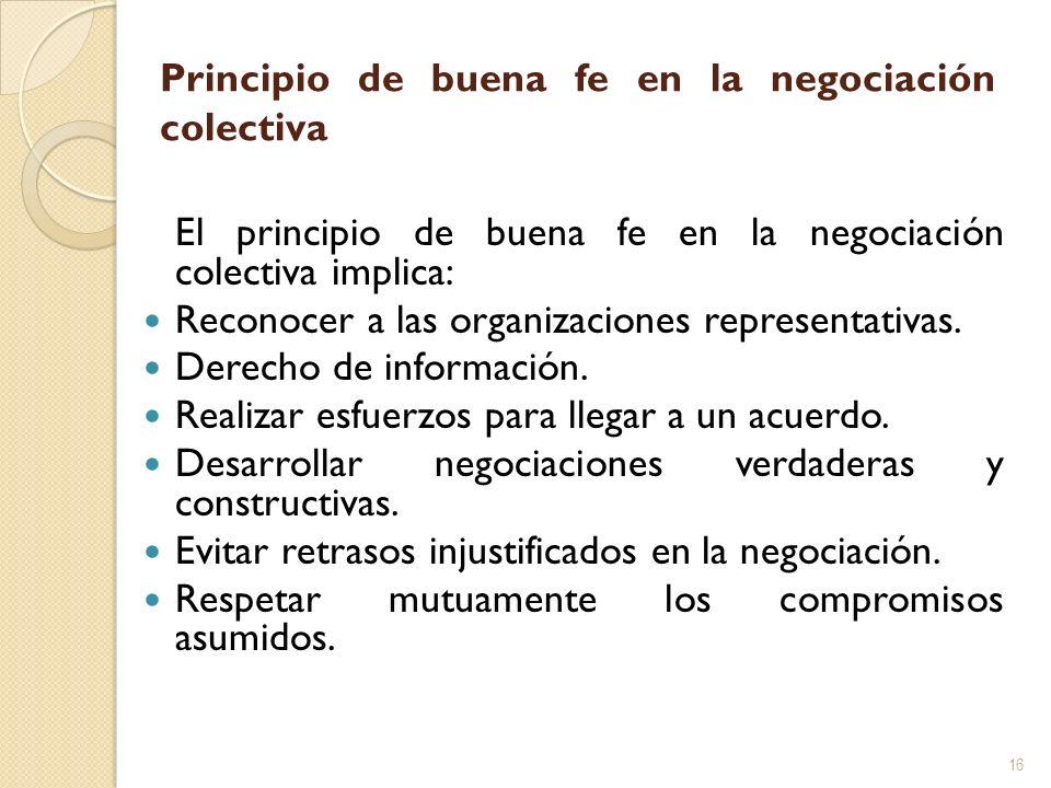 Principio de buena fe en la negociación colectiva El principio de buena fe en la negociación colectiva implica: Reconocer a las organizaciones represe