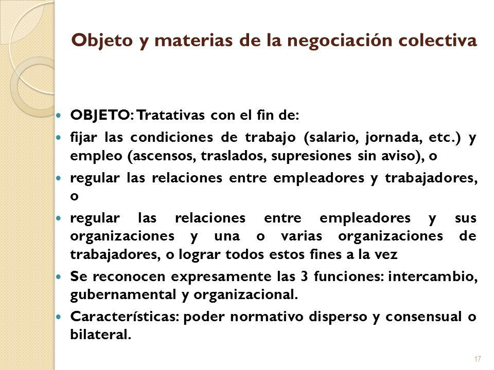 Objeto y materias de la negociación colectiva OBJETO: Tratativas con el fin de: fijar las condiciones de trabajo (salario, jornada, etc.) y empleo (as