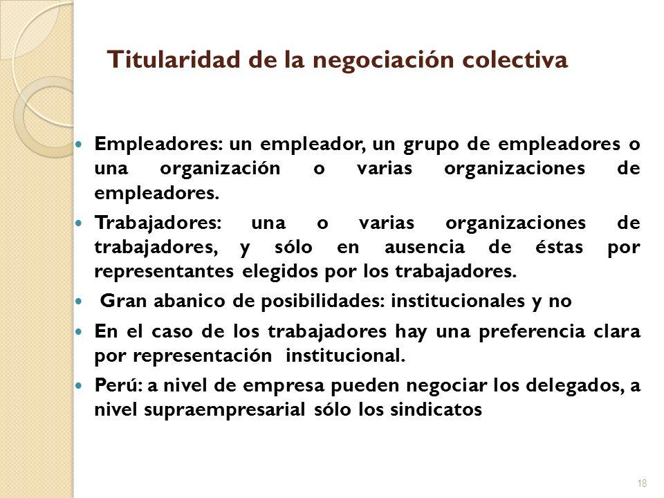 Titularidad de la negociación colectiva Empleadores: un empleador, un grupo de empleadores o una organización o varias organizaciones de empleadores.
