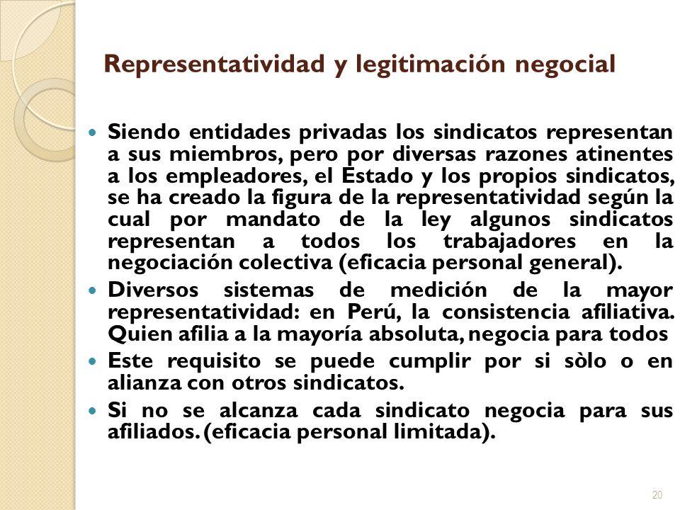 Representatividad y legitimación negocial Siendo entidades privadas los sindicatos representan a sus miembros, pero por diversas razones atinentes a l