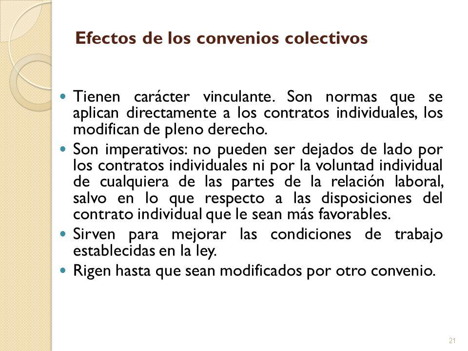 Efectos de los convenios colectivos Tienen carácter vinculante. Son normas que se aplican directamente a los contratos individuales, los modifican de