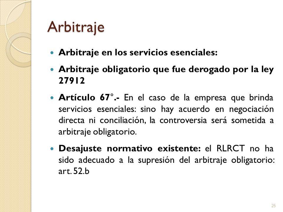 Arbitraje Arbitraje en los servicios esenciales: Arbitraje obligatorio que fue derogado por la ley 27912 Artículo 67°.- En el caso de la empresa que b
