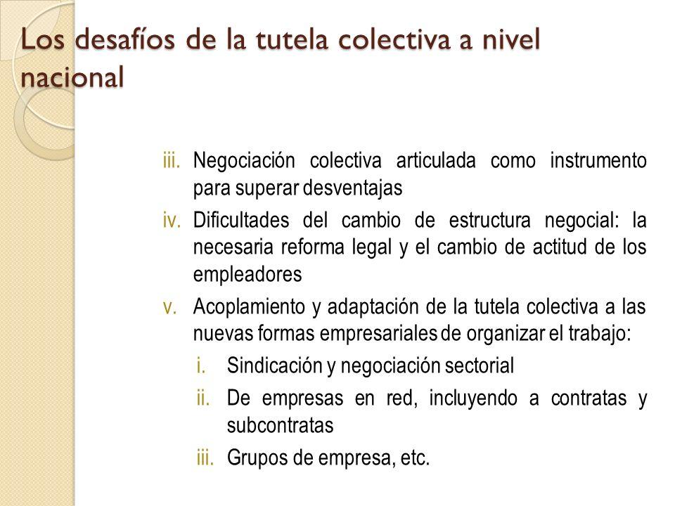 Los desafíos de la tutela colectiva a nivel nacional iii.Negociación colectiva articulada como instrumento para superar desventajas iv.Dificultades de