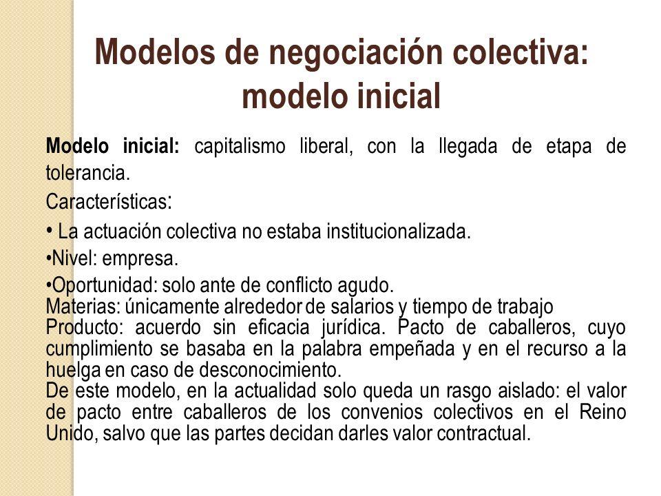 Modelos de negociación colectiva: modelo inicial Modelo inicial: capitalismo liberal, con la llegada de etapa de tolerancia. Características : La actu