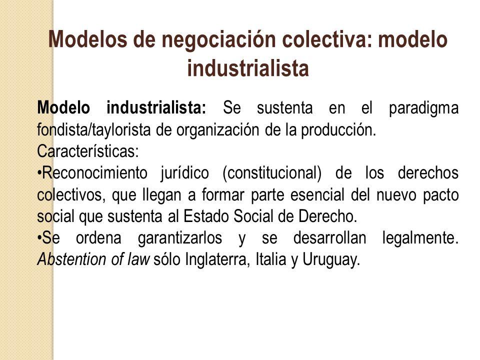 Modelos de negociación colectiva: modelo industrialista Modelo industrialista: S e sustenta en el paradigma fondista/taylorista de organización de la