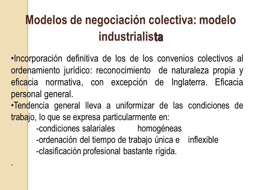 ta Modelos de negociación colectiva: modelo industrialista Incorporación definitiva de los de los convenios colectivos al ordenamiento jurídico: recon