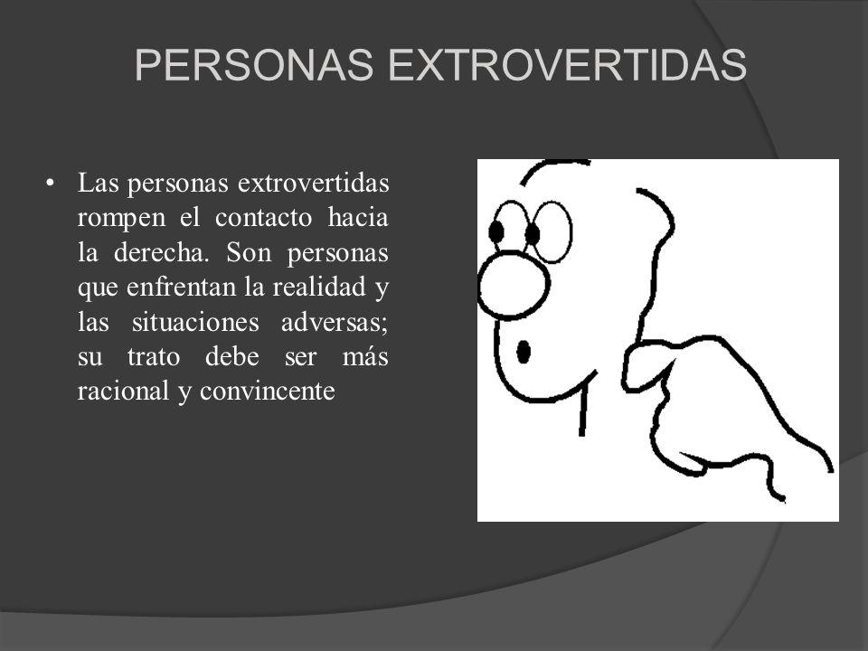 PERSONAS EXTROVERTIDAS Las personas extrovertidas rompen el contacto hacia la derecha. Son personas que enfrentan la realidad y las situaciones advers