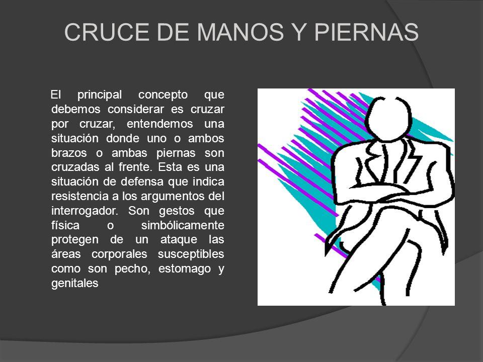 CRUCE DE MANOS Y PIERNAS El principal concepto que debemos considerar es cruzar por cruzar, entendemos una situación donde uno o ambos brazos o ambas