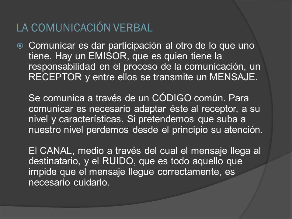 LA COMUNICACIÓN VERBAL Comunicar es dar participación al otro de lo que uno tiene. Hay un EMISOR, que es quien tiene la responsabilidad en el proceso