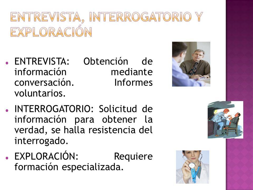 ENTREVISTA: Obtención de información mediante conversación. Informes voluntarios. INTERROGATORIO: Solicitud de información para obtener la verdad, se