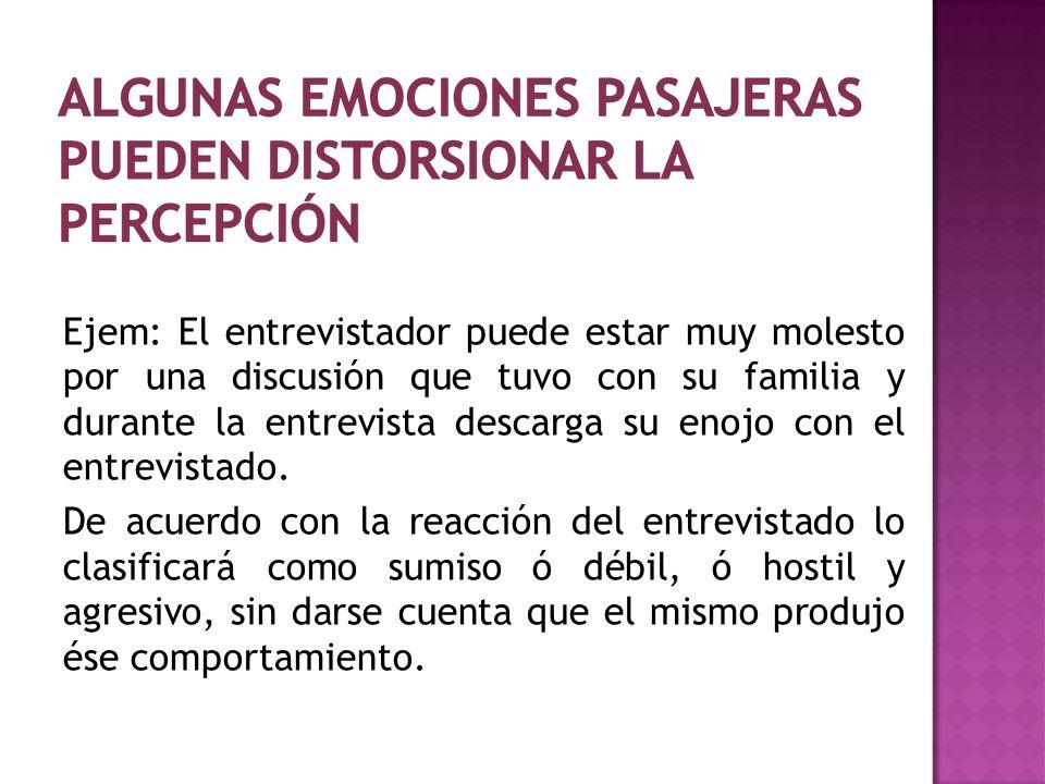 Ejem: El entrevistador puede estar muy molesto por una discusión que tuvo con su familia y durante la entrevista descarga su enojo con el entrevistado