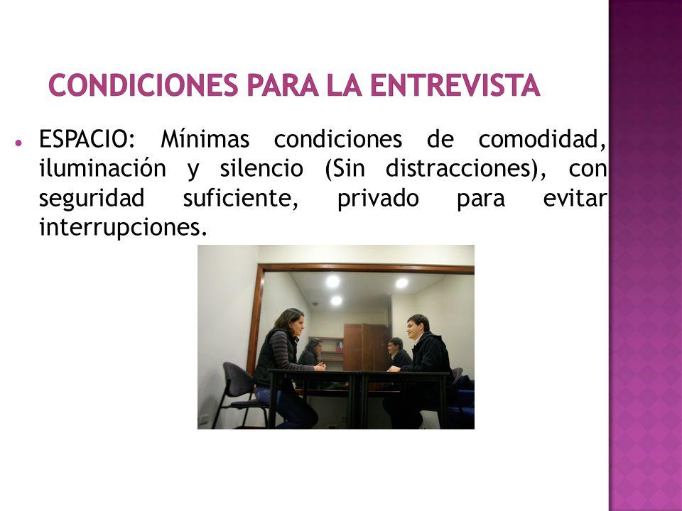 ESPACIO: Mínimas condiciones de comodidad, iluminación y silencio (Sin distracciones), con seguridad suficiente, privado para evitar interrupciones.