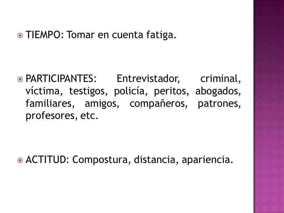 TIEMPO: Tomar en cuenta fatiga. PARTICIPANTES: Entrevistador, criminal, víctima, testigos, policía, peritos, abogados, familiares, amigos, compañeros,