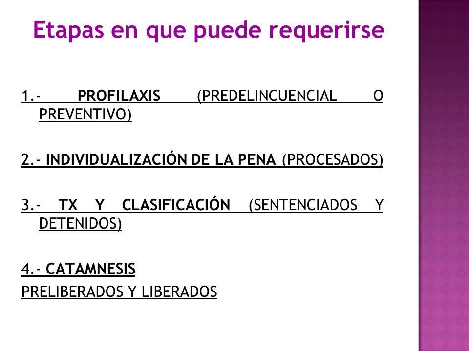 Etapas en que puede requerirse 1.- PROFILAXIS (PREDELINCUENCIAL O PREVENTIVO) 2.- INDIVIDUALIZACIÓN DE LA PENA (PROCESADOS) 3.- TX Y CLASIFICACIÓN (SE