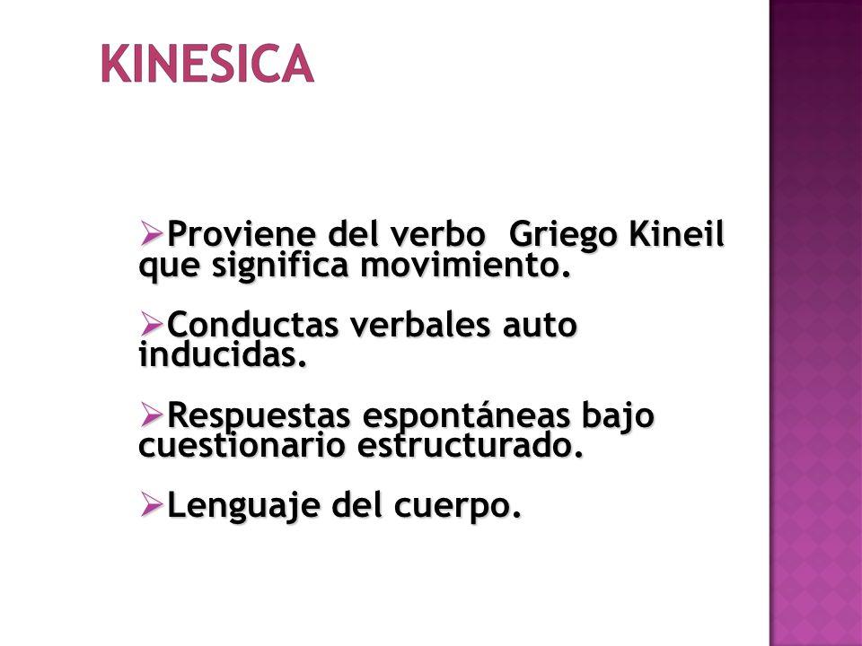 Proviene del verbo Griego Kineil que significa movimiento. Proviene del verbo Griego Kineil que significa movimiento. Conductas verbales auto inducida