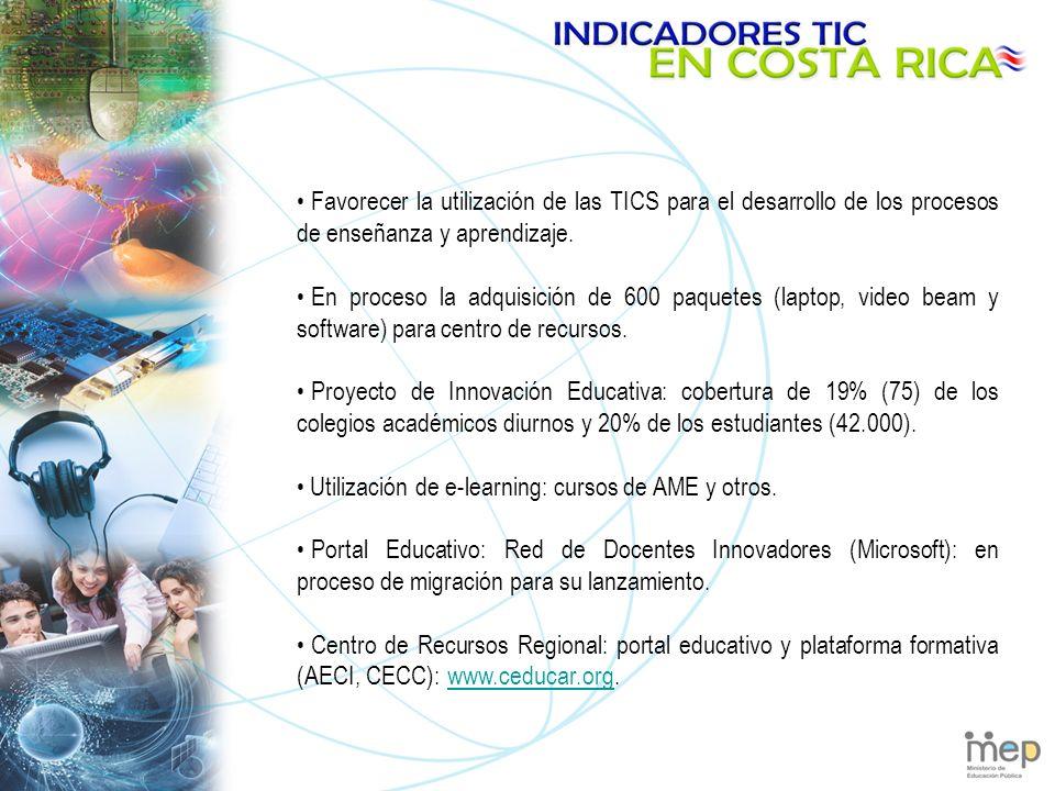 Favorecer la utilización de las TICS para el desarrollo de los procesos de enseñanza y aprendizaje.