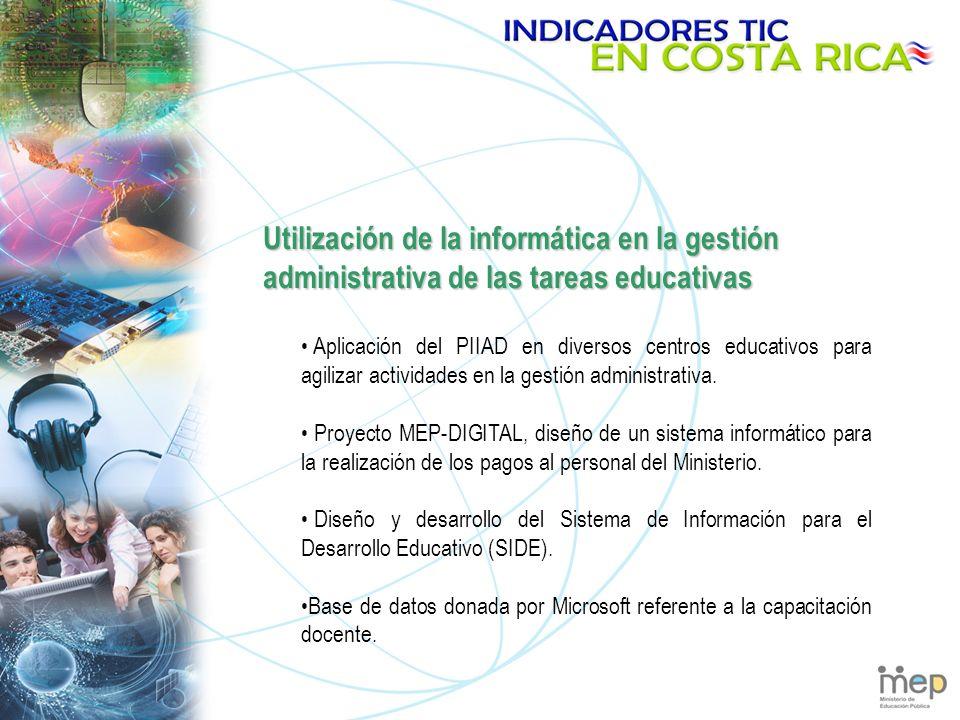 Utilización de la informática en la gestión administrativa de las tareas educativas Aplicación del PIIAD en diversos centros educativos para agilizar actividades en la gestión administrativa.