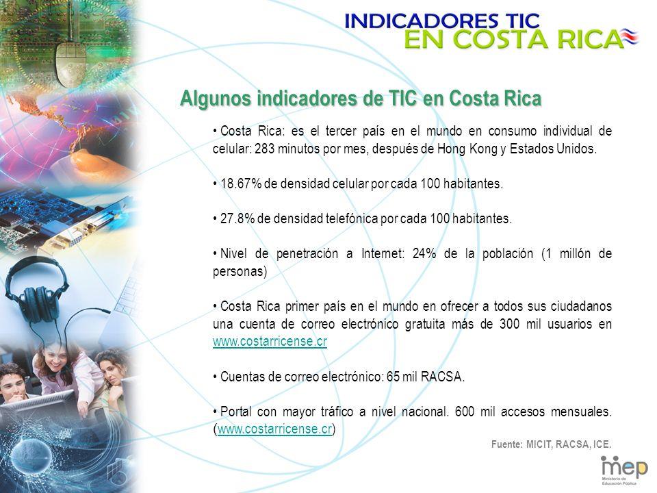 Algunos indicadores de TIC en Costa Rica Costa Rica: es el tercer país en el mundo en consumo individual de celular: 283 minutos por mes, después de Hong Kong y Estados Unidos.